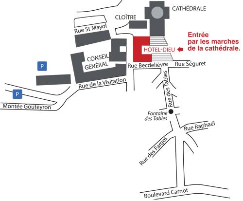Plan d'accès à l'Hôtel-Dieu au Puy-en-Velay